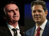 (COMBO) This combination of file pictures created on October 08, 2018 shows Brazilian presidential candidates Jair Bolsonaro (L) (PSL) in Sao Paulo, Brazil, on June 18, 2018 and Fernando Haddad (PT) in Rio de Janeiro, Brazil on October 04, 2018. - A deeply polarized Brazil stood at a political crossroads on october 8, 2018 as the bruising first round of the presidential election left voters with a stark choice in the run-off between far-right firebrand Jair Bolsonaro and leftist Fernando Haddad. Bolsonaro won 46 percent of the vote to Haddad's 29 percent, according to official results. (Photos by Miguel SCHINCARIOL and Daniel RAMALHO / AFP)