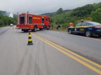 Motorista fica preso às ferragens em acidente na BR-392