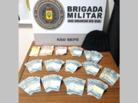 BM prende suspeito e recupera dinheiro roubado de farmácia em São Sepé